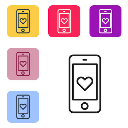 Black line Smartphone with heart emoji speech bubble get message on screen icon isolated on white background. Valentines day. Set icons in color square buttons. Vector 일러스트