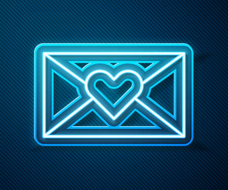 Glowing neon line Envelope with Valentine heart icon isolated on blue background. Message love. Letter love and romance. Vector