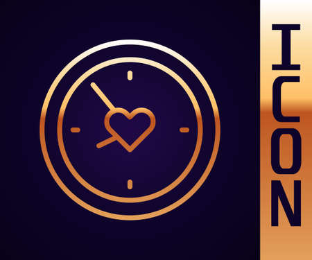 Gold line Clock with heart icon isolated on black background. Valentines day. Love symbol. Vector