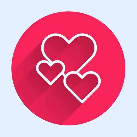 White line Heart icon isolated with long shadow. Romantic symbol linked, join, passion and wedding. Valentine day symbol. Red circle button. Vector