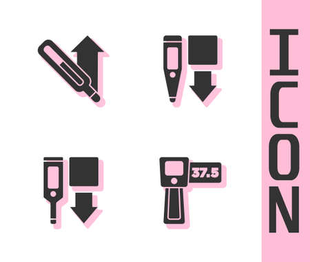 Set Digital thermometer, Medical, and icon. Vector 일러스트