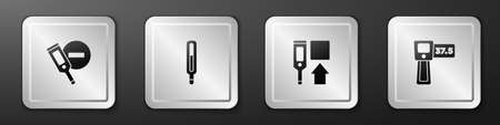 Set Digital thermometer, Medical, and icon. Silver square button. Vector