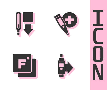 Set Digital thermometer, Medical, Fahrenheit and icon. Vector