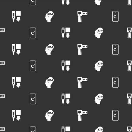 Set Digital thermometer, Celsius, and High human body temperature on seamless pattern. Vector