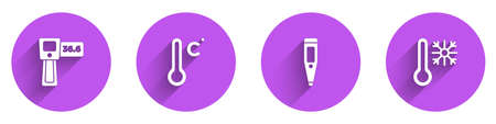 Set Digital thermometer, Meteorology, and Thermometer with snowflake icon with long shadow. Vector