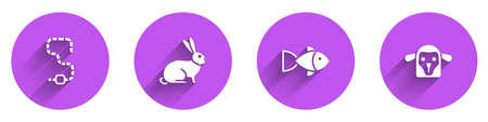 Set Worm, Rabbit, Fish and Sheep head icon with long shadow. Vector
