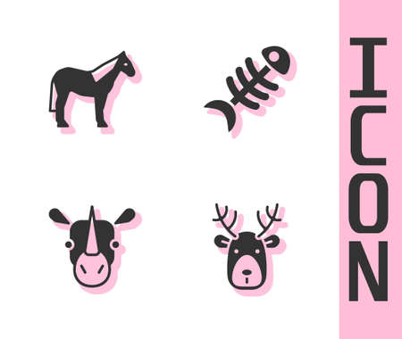 Set Deer head with antlers, Horse, Rhinoceros and Fish skeleton icon. Vector