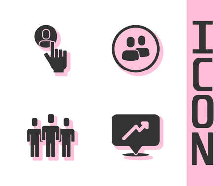 Set Graph, schedule, chart, Head hunting, Users group and Project team base icon. Vector