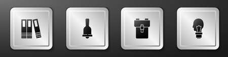Set Office folders, Ringing bell, School backpack and Light bulb with concept of idea icon. Silver square button. Vector