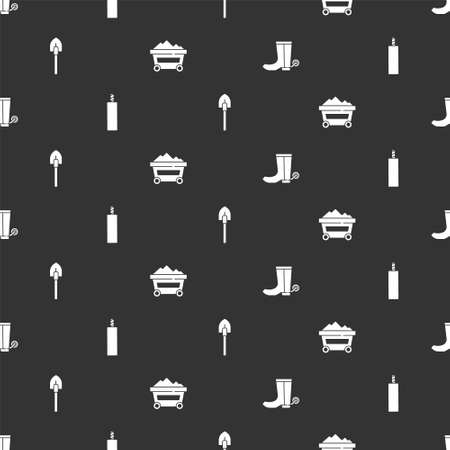 Set Cowboy boot, Dynamite bomb, Shovel and Coal mine trolley on seamless pattern. Vector