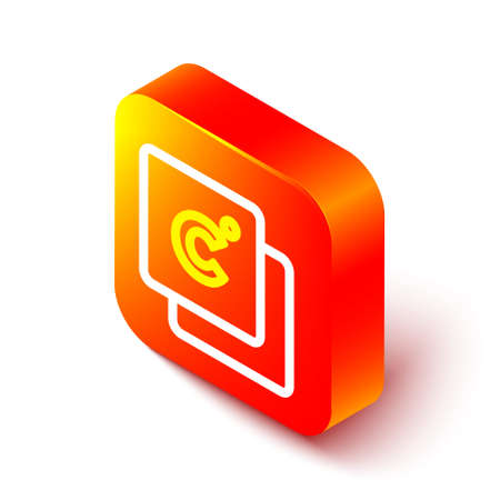Isometric line Celsius icon isolated on white background. Orange square button. Vector 向量圖像