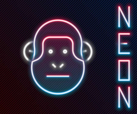 Glowing neon line Monkey icon isolated on black background. Animal symbol. Colorful outline concept. Vector