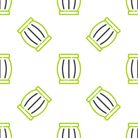 Line Gun powder barrel icon isolated seamless pattern on white background. TNT dynamite wooden old barrel. Vector