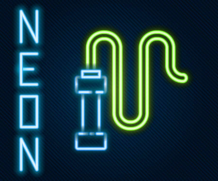 Glowing neon line Braided leather whip icon isolated on black background. Colorful outline concept. Vector