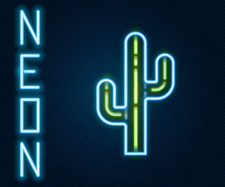 Glowing neon line Cactus icon isolated on black background. Colorful outline concept. Vector