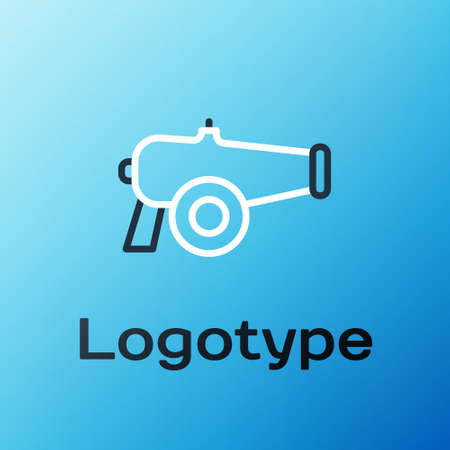 Line Cannon icon isolated on blue background. Colorful outline concept. Vector