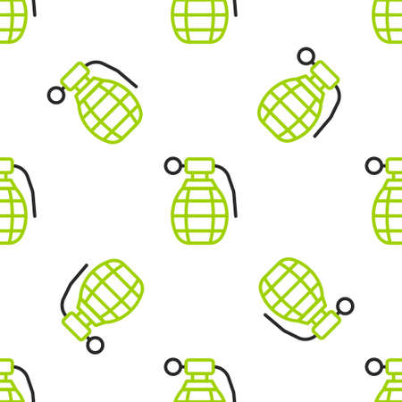 Line Hand grenade icon isolated seamless pattern on white background. Bomb explosion. Vector