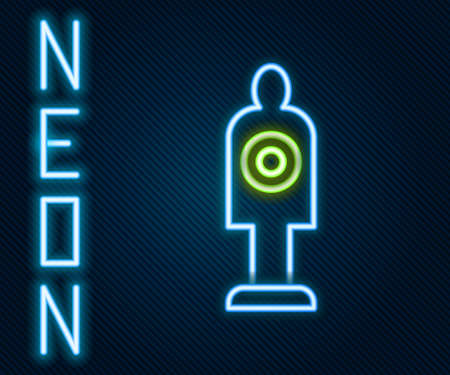 Glowing neon line Human target sport for shooting icon isolated on black background. Clean target with numbers for shooting range or shooting. Colorful outline concept. Vector Ilustração