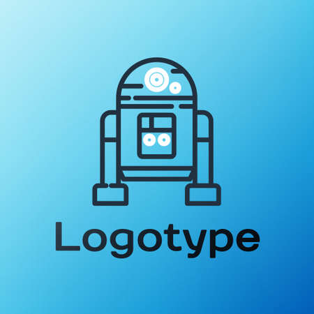 Line Robot icon isolated on blue background. Colorful outline concept. Vector