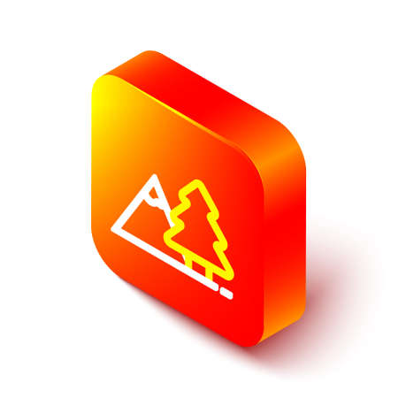 Isometric line Mountains with tree icon isolated on white background. Symbol of victory or success concept. Orange square button. Vector Ilustrace