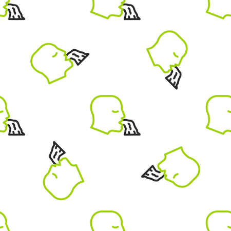Line Vomiting man icon isolated seamless pattern on white background. Symptom of disease, problem with health. Nausea, food poisoning, alcohol poisoning concept. Vector
