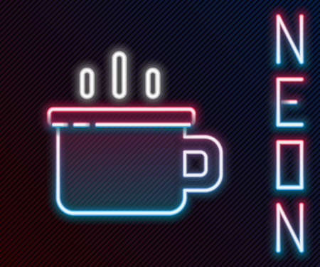 Glowing neon line Coffee cup icon isolated on black background. Tea cup. Hot drink coffee. Colorful outline concept. Vector Ilustração