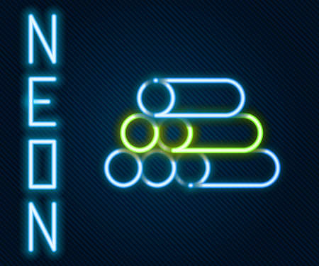 Glowing neon line Wooden logs icon isolated on black background. Stack of firewood. Colorful outline concept. Vector