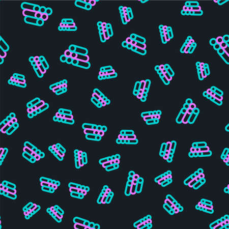 Line Wooden logs icon isolated seamless pattern on black background. Stack of firewood. Vector