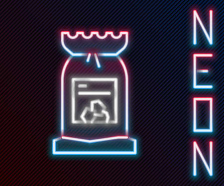 Glowing neon line Barbecue coal bag icon isolated on black background. Colorful outline concept. Vector