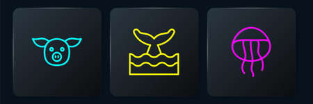 Set line Pig, Jellyfish and Whale tail in ocean wave. Black square button. Vector Vettoriali