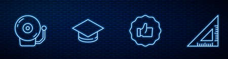 Set line Hand thumb up, Ringing alarm bell, Graduation cap and Triangular ruler. Glowing neon icon on brick wall. Vector