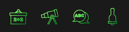 Set line Alphabet, Chalkboard, Telescope and Ringing bell. Gradient color icons. Vector
