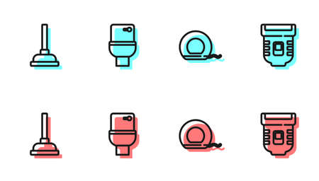 Set line Dental floss, Rubber plunger, Toilet bowl and Epilator icon. Vector
