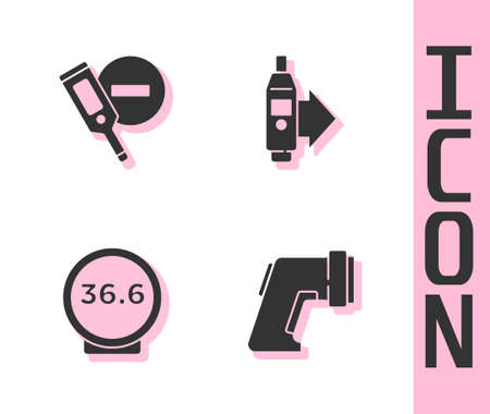 Set Digital thermometer, , Medical and icon. Vector