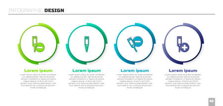 Set Digital thermometer, , and . Business infographic template. Vector