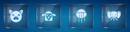 Set Cat, Sheep head, Jellyfish and Elephant. Square glass panels. Vector 向量圖像