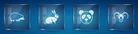 Set Hedgehog, Rabbit, Cute panda face and Head of goat or ram. Square glass panels. Vector Ilustração