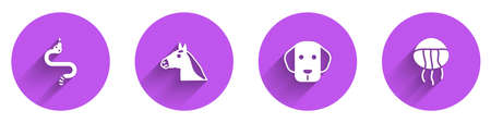 Set Snake, Horse head, Dog and Jellyfish icon with long shadow. Vector 向量圖像
