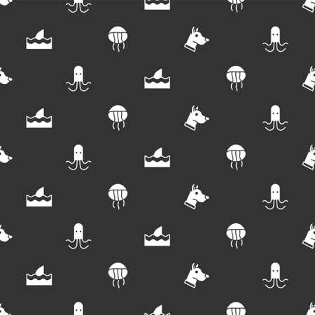 Set Dog head, Octopus, Shark fin in ocean wave and Jellyfish on seamless pattern. Vector 向量圖像