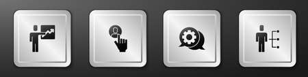 Set Team leader, Head hunting, Speech bubble chat and User of man business suit icon. Silver square button. Vector