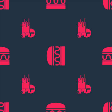 Set Fast delivery by car and Burger on seamless pattern. Vector