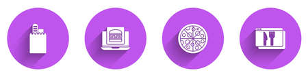 Set Online ordering and delivery, burger, Pizza and icon with long shadow. Vector Vettoriali