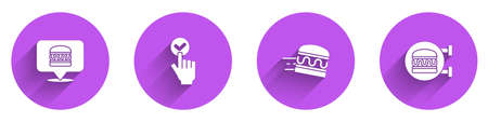 Set Online ordering burger delivery, and, and icon with long shadow. Vector