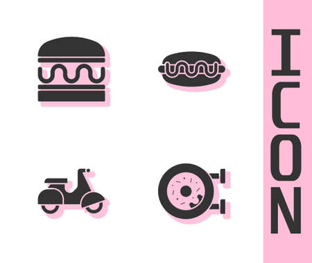 Set Donut, Burger, Scooter delivery and Hotdog sandwich icon. Vector Vettoriali