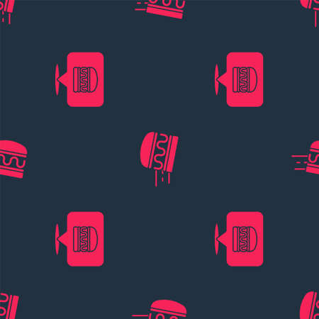 Set Online ordering burger delivery and on seamless pattern. Vector Vettoriali
