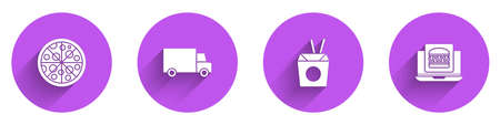 Set Pizza, Fast delivery by car, Asian noodles and chopsticks and Online ordering burger icon with long shadow. Vector Vettoriali