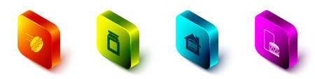 Set Isometric Online ordering hotdog, and delivery, and icon. Vector