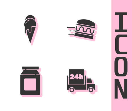 Set Fast delivery by car, Ice cream, Online ordering and and burger icon. Vector Vettoriali