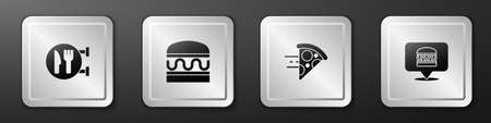 Set Cafe and restaurant location, Burger, Online ordering pizza delivery and burger icon. Silver square button. Vector Vettoriali