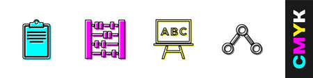 Set Clipboard with checklist, Abacus, Chalkboard and Molecule icon. Vector 向量圖像